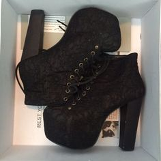 Jeffrey Campbell Lace Lita's Currently selling my JC black lace lita's size 7! They're in mint condition, comes with original box and can wear them with pretty much anything. For additional photos or info, dm me :-) Thank you! Jeffrey Campbell Shoes Platforms