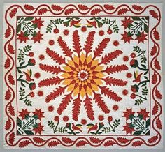 An extravagantly appliqued mid-19th century cotton quilt in the collection of the National Museum of American History