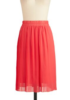What I Meant to Sway Was Skirt - Long, Pink, Pleats, , Solid Coral