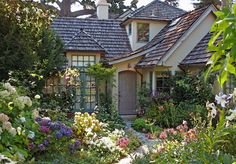 put shrubs and trees close to the house, flowers in front