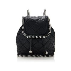 Pre-Owned Stella McCartney Quilted Falabella Mini Backpack ($785) ❤ liked on Polyvore featuring bags, backpacks, black, vegan backpack, faux leather backpack, vegan bags, fake leather backpack and chain bag