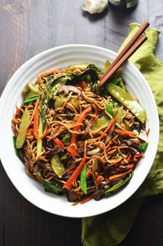 Loaded Vegetable Lo Mein. This healthier version of the takeout favorite is chock full of vitamins and dietary fiber, and is absolutely delicious! Plus, it takes less than 30 minutes to make!   hostthetoast.com