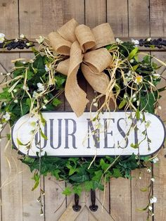 Our Nest Front Door Wreath | Greenery Wreath | Wreath Great for All Year Round | Everyday Burlap Wreath | Door Wreath | farmhouse wreath by FarmHouseFloraLs on Etsy