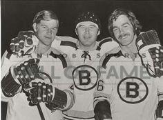 Bobby Orr, Ted Green and Derek Sanderson of the Boston Bruins Hockey team.