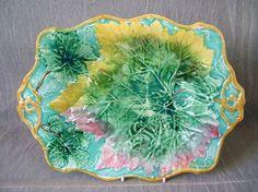 Copeland Majolica leaf platter