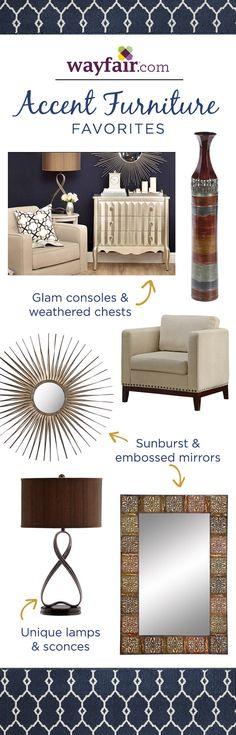 Bring your home to life with our favorite accent decor. Pair a glam console table with a sunburst mirror. Discover more at Wayfair!