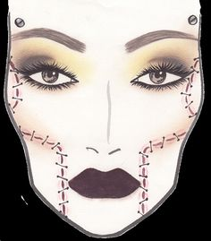 I used this face chart in my prep book on the special effects page as it is quite fashionable yet incorporates a special effects. It is MAC x Rick Baker.