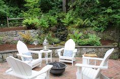 Backyard relaxation spot....love retaining walls, too