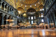 Colors Of Hagia Sophia.  It is a former Orthodox patriarchal basilica, later a mosque, and now a museum in Istanbul, Turkey.   #turkey
