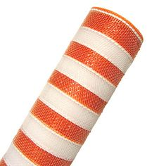 "Deco Poly Mesh® Ribbon Metallic Orange Foil and White Striped Synthetic material, fabric like mesh netting 21"" x 10 yd Great for your holiday decorating, bow or wreath making!"