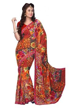 Sophisticated Red Georgette Printed Saree