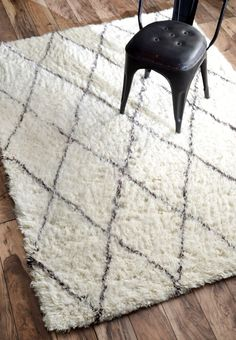 Tuscan Moroccan Shag Ivory Rug | Contemporary Rugs