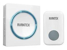 Sonnette de Porte électronique sans fil AVANTEK carillon électrique de 300m à LED bleu cloche étanche noir/blanc (blanc)