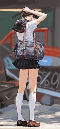 Imagem de anime, anime girl, and illustration Manga Anime, Manga Girl, Anime Art Girl, Anime Girls, Character Inspiration, Character Art, Anime School Girl, Manga Drawing, Looks Cool