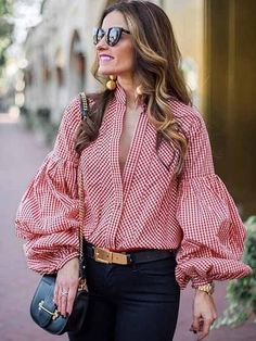 """Universe of goods - Buy """"Vintage deep v-neck plaid blouse women Long puff sleeve summer blouse shirt 2018 Streetwear casual stripe black blusas tops sexy"""" for only USD. Casual Outfits, Fashion Outfits, Casual Clothes, Ladies Fashion, Fashion Hacks, Stylish Clothes, Fashion Stores, Clothes Women, Shirts"""