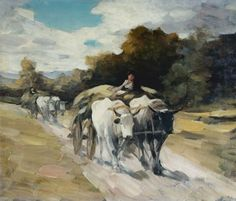 Nicolae Grigorescu is considered one of the most appreciated Romanian painters - 'Bull Cart'