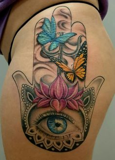 The size of the eye is pretty on this one Body Art Tattoos, Hand Tattoos, Sleeve Tattoos, Cool Tattoos, Script Tattoos, Arabic Tattoos, Hamsa Tattoo Design, Hamsa Hand Tattoo, Tattoo Designs
