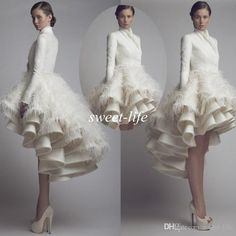702a3fc79c26 Chic Wedding Dresses 2015 Fall Winter Long Sleeve High Collar Short Front  Long Back Satin Feather Krikor Jabotian Bridal Wedding Party Gowns
