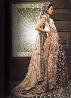 Embellished bridal lengha in cream and purple