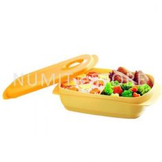 TUPPERWARE MICROWAVEABLE REHEATABLE DIVIDED LUNCH BOX 1L