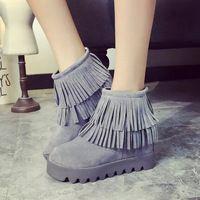 2015 otoño y el invierno plataforma botas mujeres borla botas casuales ascensor short boots aumento de la altura zapatos