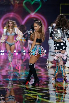 Ariana Grande shows 'em how to graduate in the University of PINK section of the #VSFashionShow.
