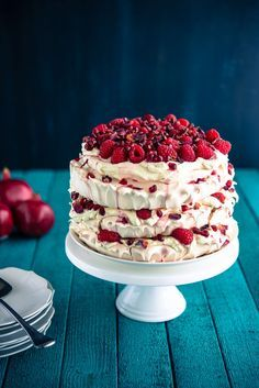 Raspberry Pomegranate Layered Pavlova (The Hungry Australian)