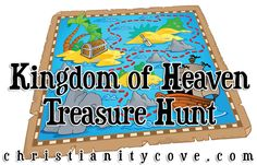 Kingdom of Heaven Treasure Hunt Bible Game - Christianity Cove Sunday School Games, Sunday School Lessons, Sunday School Crafts, Bible Object Lessons, Bible Lessons For Kids, Bible For Kids, Bible Games, Bible Activities, Preschool Bible