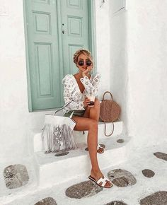 Holiday Outfits, Summer Outfits, Summer Clothes, Work Outfits, Trendy Outfits, Leonie Hanne, Foto Casual, Frill Tops, Fringe Bags
