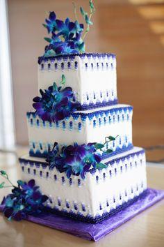 purple & teal wedding cake. Yum