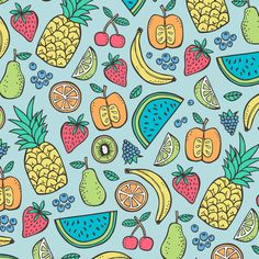 Summer Fruit on Blue with Pineapple,strawberry,watermelon fabric - caja_design - Spoonflower