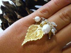 Ring mit echten Birkenblätter in 24ct Gold von AGNES MISTRAL ITALIA auf DaWanda.com