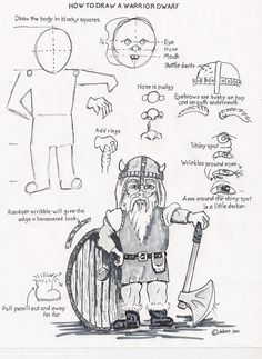 How to draw a warror dwarf worksheet