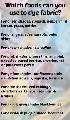 Which foods can you use to dye fabric naturally? Which foods can you use to dye fabric naturally? The post Which foods can you use to dye fabric naturally? Fabric Painting, Fabric Art, Fabric Crafts, Diy Crafts, Fabric Design, Tinta Natural, Natural Dye Fabric, Natural Dyeing, Impression Textile