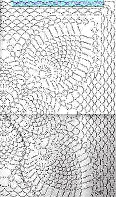 Большой ажурный квадратный мотив с «ананасами». Схема вязания крючком Узором «ананас» кажется удивить мастериц сложно, однако, вот вам не плохая идея связать крючком ажурное пок…