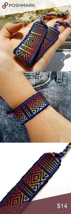 Wide Woven Boho Friendship Bracelet Get a FREE bracelet when BUNDLED🌹  Coachella/BurningMan/raves/Friendship/Weaved/Geometric/Bohemian/Gypsy/Aztec/Hipster/Tribal/Traditional/Ethnic/Urban/Pattern  •Handmade using a loom by skilled Peruvian artisans!  •Purple, red orange, light blue handwoven with wool thread patterned bracelet.  ⓢⓘⓩⓔ: 6 1/2 inches around wrist Jewelry Bracelets
