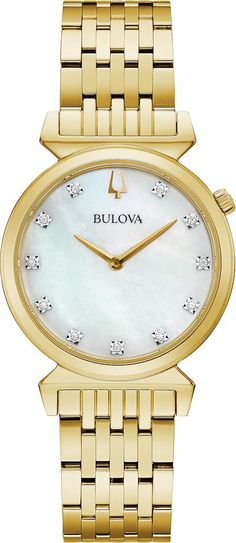 Bulova Watch Regatta Ladies #add-content #allow-discount-yes #basel-20 #bezel-fixed #bracelet-strap-gold-pvd #brand-bulova #case-depth-5-5mm #case-material-yellow-gold-pvd #case-width-30mm #delivery-timescale-call-us #dial-colour-white #fashion #gender-ladies #movement-quartz-battery #new-product-yes #official-stockist-for-bulova-watches #packaging-bulova-watch-packaging #sale-item-no #style-dress #subcat-regat Used Watches, Watches For Men, Armani Designer, Bulova Watches, Classic Man, Metal Bracelets, Watch Sale, Watches Online, Bracelet Sizes