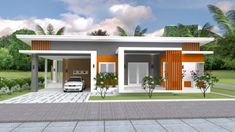House Plans with 3 Bedrooms. This villa is modeling by SAM-ARCHITECT With 2 stories level. It's has 3 bedrooms.Simple Home Design 3d House Plans, 2 Bedroom House Plans, Home Design Floor Plans, House Layout Plans, Modern House Plans, Small House Plans, House Layouts, 3 Room House Plan, Story House