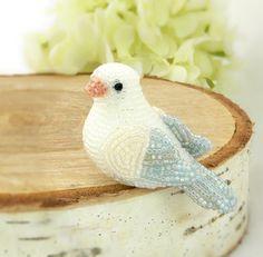 Dove Beaded Miniature Figurine Bird Animal Totem Stocking Stuffer
