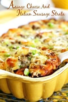 Cheese And Italian Sausage Strata - This make ahead casserole features the robust flavor of Asiago cheese, Italian sausage and cubed bagels. Breakfast Dishes, Breakfast Time, Breakfast Casserole, Breakfast Recipes, Breakfast Strata, Italian Breakfast, Strata Recipes, Casserole Recipes, Egg Casserole