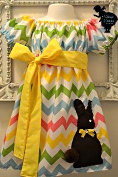 Vintage Stitches Chocolate Bunny Chevron Dress - Easter Dress- Girl Dress- Baby Clothing. $38.00, via Etsy.