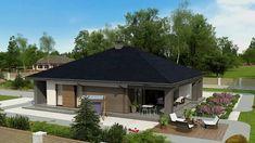 Z344 - Gotowy projekt domu parterowego we współczesnym stylu do 120 m2 Design Case, Gazebo, Outdoor Structures, Cabin, House Styles, Outdoor Decor, Modern, Small Houses, Home Decor