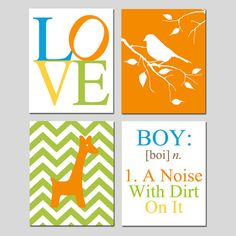 Boy Nursery Art Quad  Set of Four 8x10 Prints  Boy a by Tessyla, $65.00