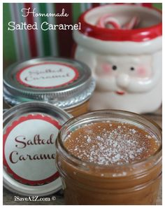 Homemade Salted Caramel Recipe!  We added these to jars because they make excellent gift ideas around the holidays!