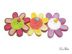 Crochet flower appliques Crochet embellishment by CreArtebyPatty