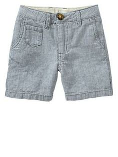 Houndstooth linen flat front shorts - Gap