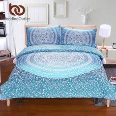 BeddingOutlet Luxury Boho Bedding Set Crystal Arrays Duvet Quilt Cover Blue Printed Bedspread 3Pcs New Arrivals