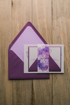 Fabulous Shades of Purple, Plum and Lavender Watercoor Wedding Invitations by Just Invite Me