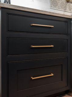 Brass Pull on black cabinets Benjamin Moore Soot cabinet #cabinet #BenjaminMooreSoot