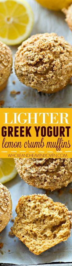 Lighter Greek Yogurt Lemon Crumb Muffins Muffin Recipes, Brunch Recipes, Baking Recipes, Breakfast Recipes, Brunch Foods, Dessert Recipes, Orange Recipes, Lemon Recipes, Brunch Drinks
